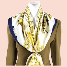 Parc Royal Hermes Silk Scarf Navy White & Gold