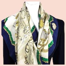 Traineaux et Glissades Hermes Silk Scarf Vintage