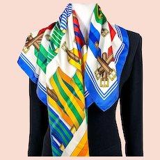 Sangles Hermes Silk Scarf White/Multi