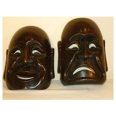 Wood Comedy / Tragedy Theater Masks