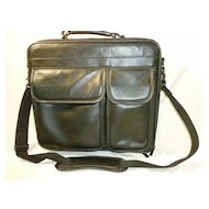 Executive Briefcase Black Leather Computer or Ipad and Files