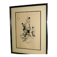 Norman Rockwell ROCKET SHIP Signed Lithograph