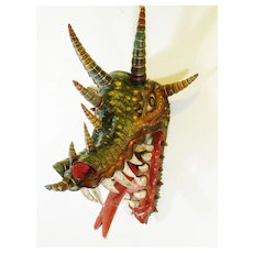 Mexican Serpent Mask Hand Made Collectible Folk Art