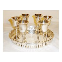 Cordial Set of 6 on Tray Sliver-plated