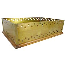 Brass and Oak desk file box  in or out box