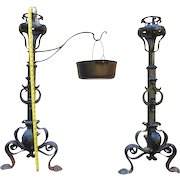 "Antique Andirons 18th Century 36"" tall"