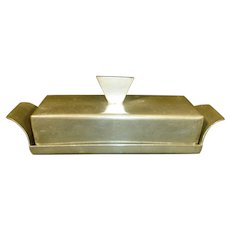 Pewter Covered Butter Dish Mid - Century Modern