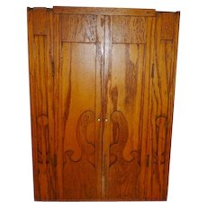 Vintage Folk Art Oak Wall Cabinet