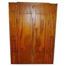 Vintage Folk Art Oak Wall Cabinet