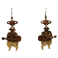 Earrings Sterling Mexico Pierced Guitar playing cows vintage - SALE