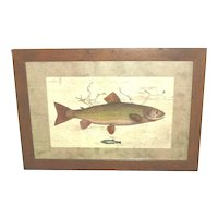 "Fish Print ""Upstream"" framed and matted"