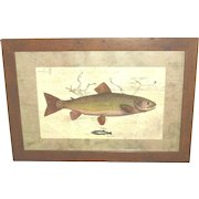 """Fish Print """"Upstream"""" framed and matted"""