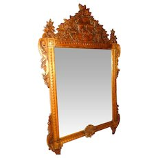 Antique Carved Wood Framed Mirror