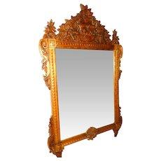 Antique Carved Wood Framed Mirror