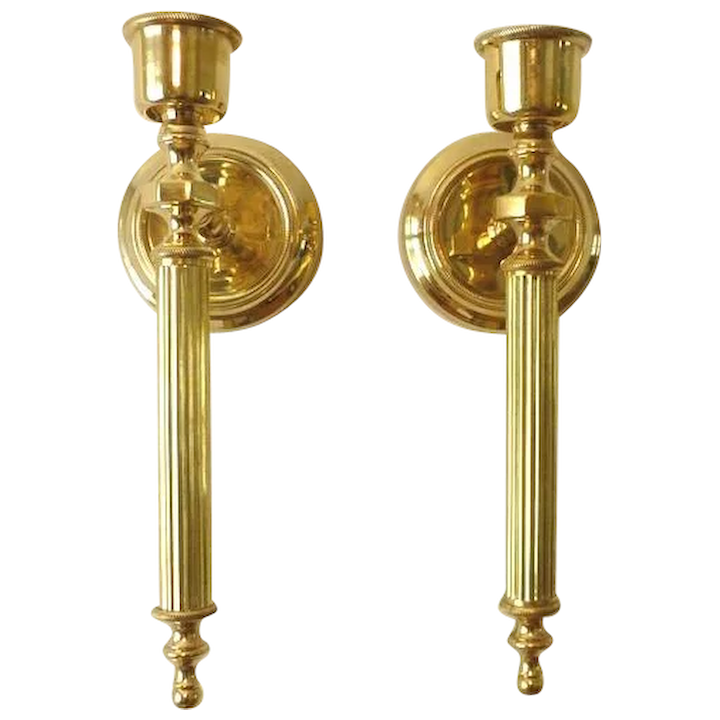 Brass Candle Wall Sconces Vintage