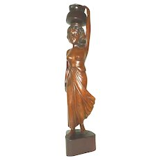 Vintage Hand Carved Thai Female Wood Sculpture
