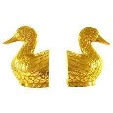 Pair Solid Brass Duck Bookends