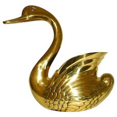 Planter, Brass Swan, Large