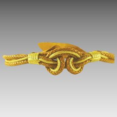 Leather and Gold Tone Braid Rope Belt