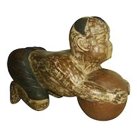 "Asian Boy ""Karako"" with Ball Wood Carving Chinese"
