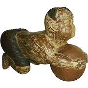 "Asian Boy ""Karako"" with Ball Wood Carving Chinese"