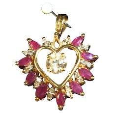 Rubies and Diamonds Heart Shaped  Pendant 10 kt gold - SALE