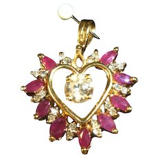 Rubies and Diamonds Heart Shaped  Pendant 10 kt gold - SALE
