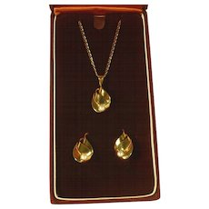 14 kt Gold and Pearl Necklace and Earrings Set - SALE
