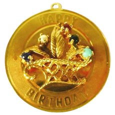 "14 kt Gold ""Happy Birthday"" Charm sale"