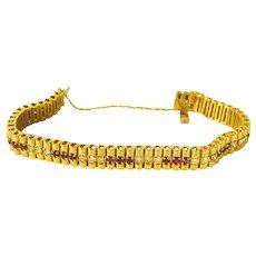 Rubies and Diamonds 14 kt  Tennis Style Bracelet - SALE