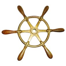 Nautical Antique Bronze Ships Wheel