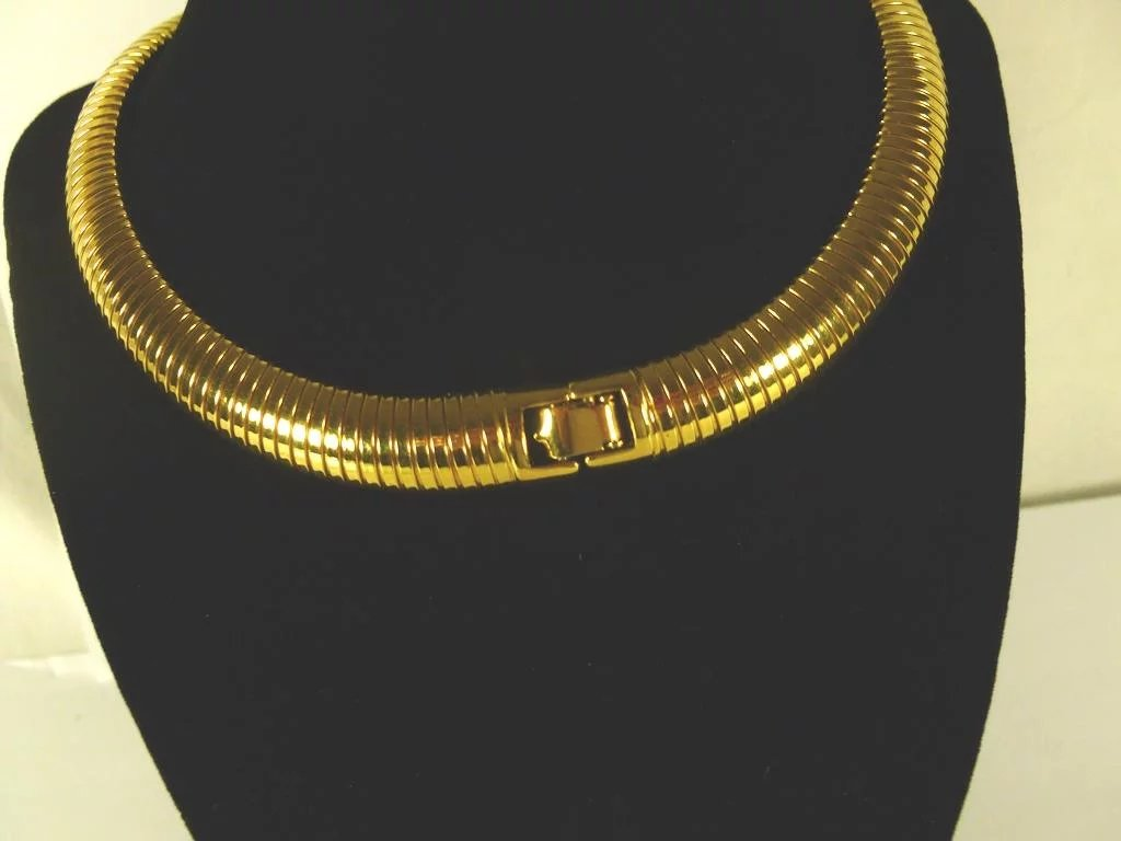 Is Monet Jewelry Real >> Gold Tone Monet Choker / Necklace Vintage : Cliffwood Antiques | Ruby Lane