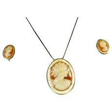 Krementz Cameo Necklace and Matching Earrings Set