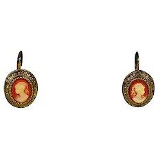 Cameo Earrings Gold Tone Pierced