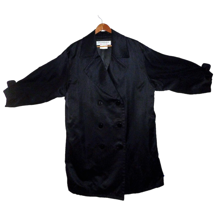 7addc6acca4 Yves Saint Laurent Silk Trench Coat Double Breasted reduced : Cliffwood  Antiques | Ruby Lane