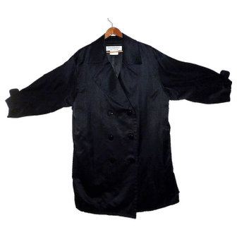 Yves Saint Laurent Silk Trench Coat Double Breasted
