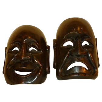 Masks Wood Comedy / Tragedy Theater