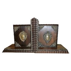 Vintage Ornate Wood Bookends from Brazil