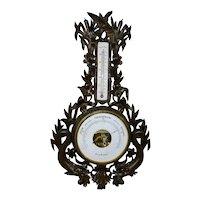 "Antique LARGE 42"" Tall Black Forest Veranderlich Barometer"