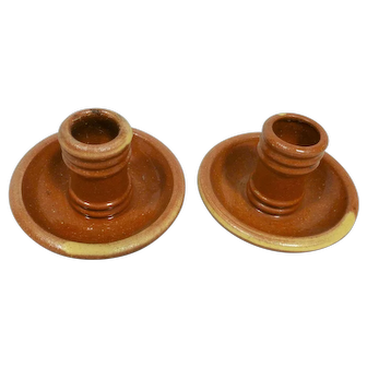 Vintage Pottery Candlestick Holders Hand Made