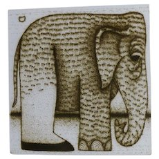 Elephant Lithograph Signed and Numbered Elephas Maximus