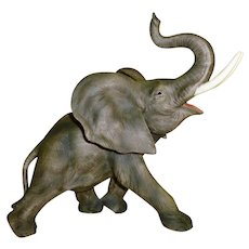 Collectible Trumpeting Elephant  Andrea Porcelain by Sadek