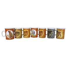 Limoges Wild Animal Mugs Set of Seven
