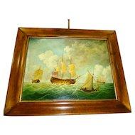 "J. V. Capua Oil on Canvas ""Strong Breeze"" Nautical"