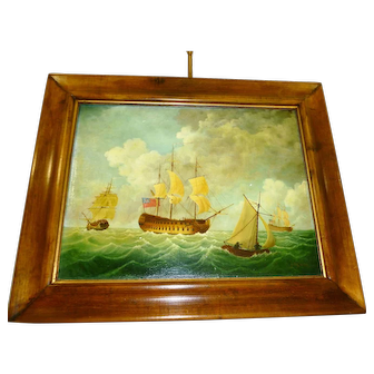 "J. V. Capua Oil on Canvas ""Strong Breeze"" Nautical"