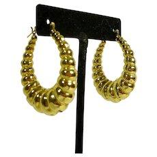 14 K Gold Hoop Pierced Earrings Large