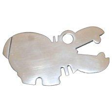 Aluminum Rhinoceros Brooch.