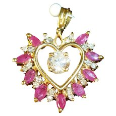 Diamond and Ruby Heart Shaped Pendant