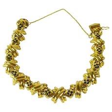 Fine Estate Gold and Sapphire Bracelet Vintage with XOXO design Sale