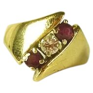Ladies Diamond and Ruby Ring 14 kt - reduced